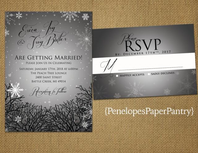 Winter Themed Wedding Invitations: Elegant Rustic Winter Wedding Invitations, Silver