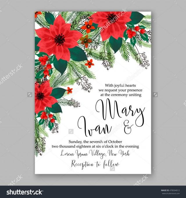 Sample Christmas Tree Decorating Ideas: Poinsettia Wedding Invitation Sample Card Beautiful Winter