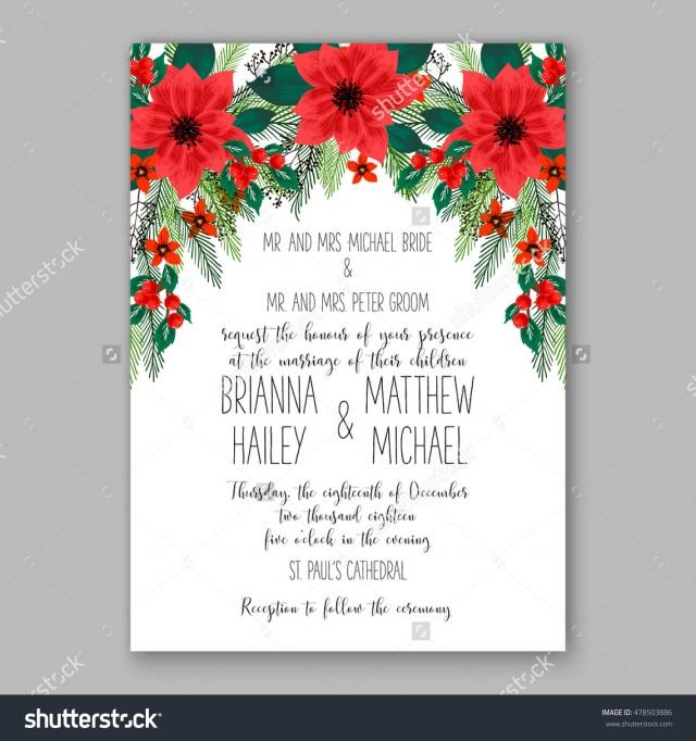 poinsettia wedding invitation sample card beautiful winter floral ornament christmas party