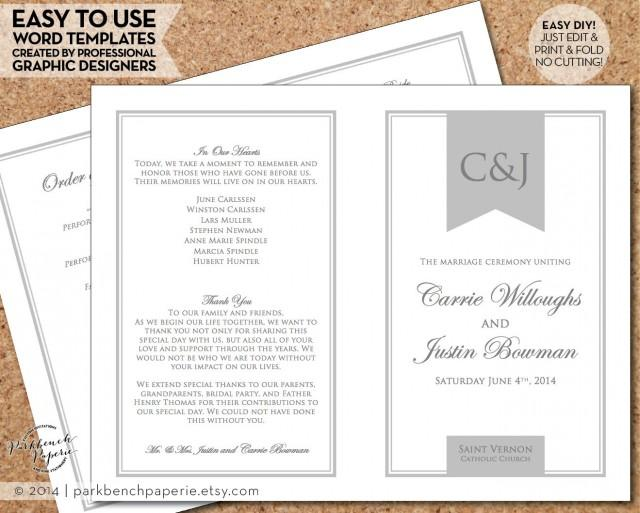 Diy Wedding Word Banners: Wedding Program Template