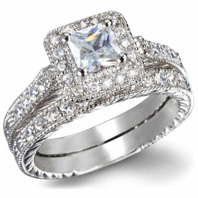 3 55 Princess Cut Wedding Ring Set Women S Engagement Ring Diamond