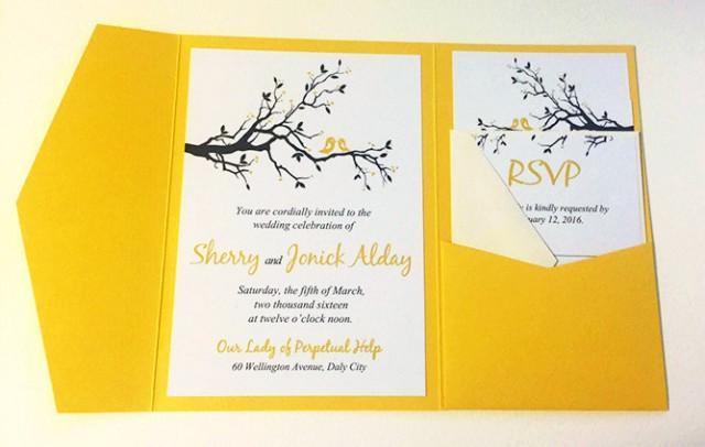 Love Birds Wedding Invitations: Love Bird Wedding Pocketfold Invitation