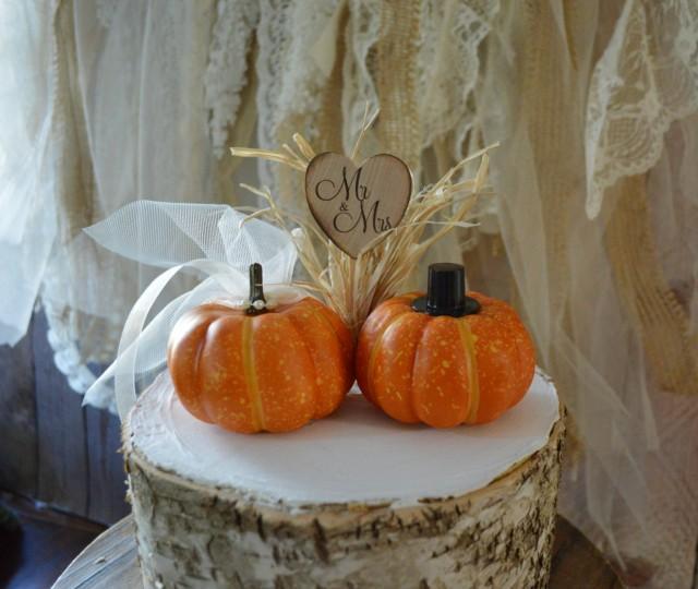 Bride And Groom Only Wedding Ideas: Fall Wedding Cake Topper Mini Pumpkin Topper Bride Groom