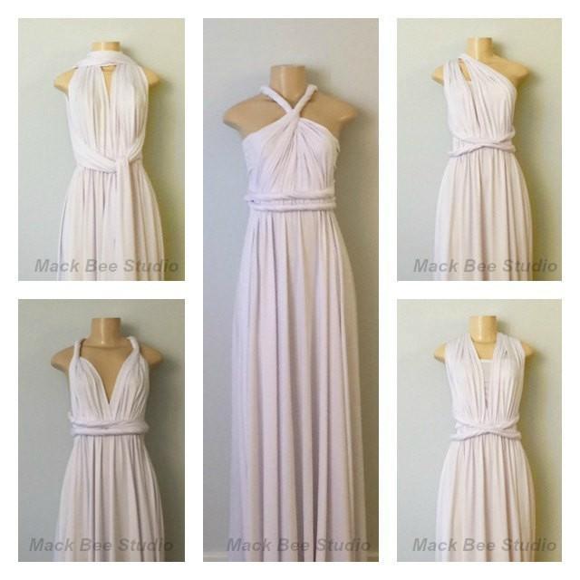 White Long Infinity Bridesmaid Dress, White Convertible Wrap Dress ...