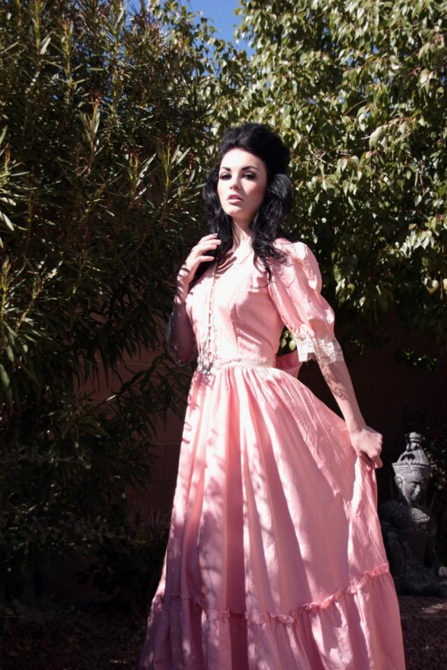70s Gunne Sax Jessica McClintock Coral Pink Vintage Wedding Dress ...