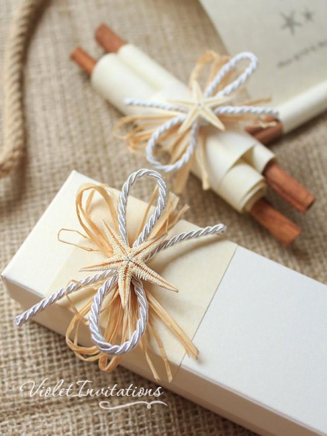 SAMPLE Starfish Handmade Ivory Scroll Boxed Wedding Invitation ...
