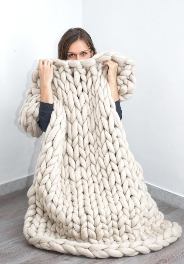 Chunky Blanket Knitted Blanket Merino Wool Blanket