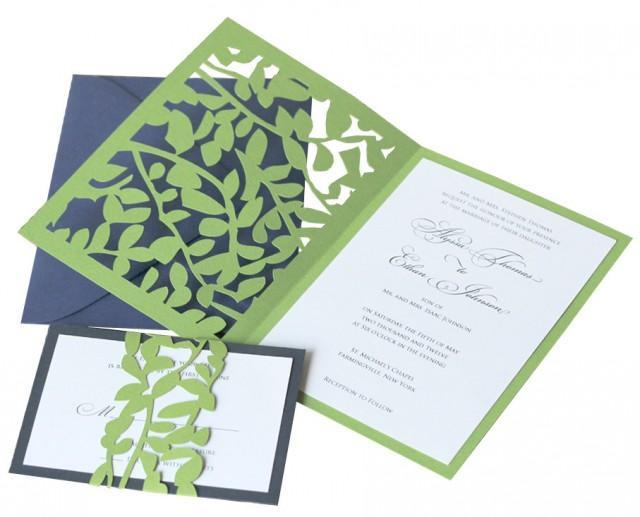 Leaf Lace Wedding Invitations Whimsical Vine Leaves Romantic