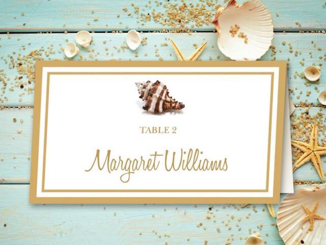 beach wedding place card printable template  u0026quot seashell
