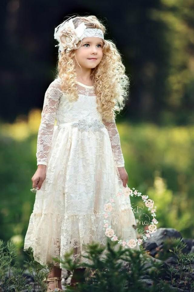 Flower Girl Dress Girl Lace Dress Country Lace Dress