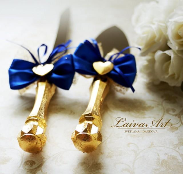 Blue And Gold Wedding Cake Server Set Knife Cutting Servers Cutter 2584379
