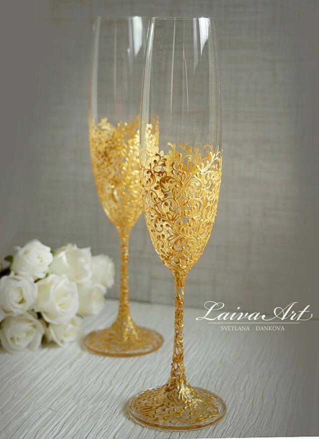 Gold Wedding Champagne Flutes Wedding Champagne Glasses ...