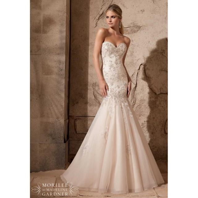 Mori lee 2720 beaded lace mermaid wedding dress crazy for Mermaid wedding dresses on sale