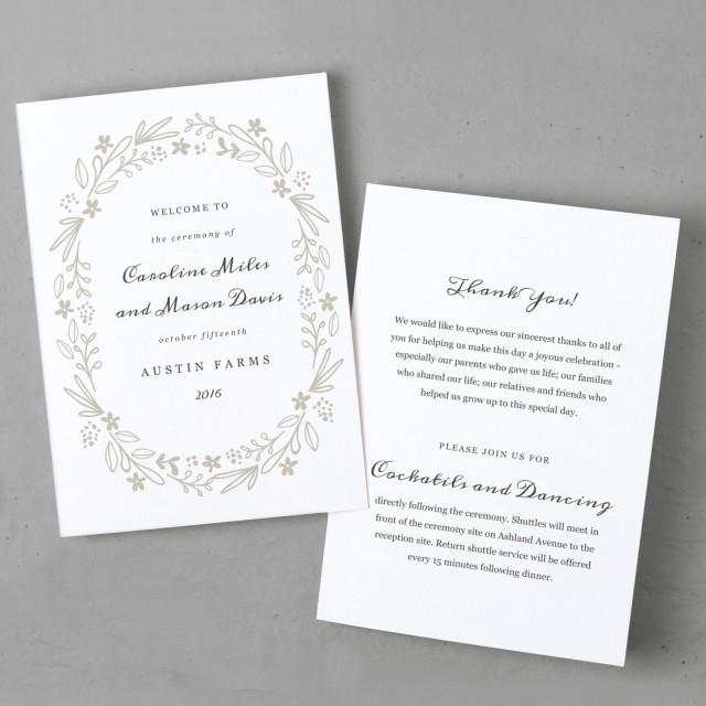 printable wedding program template order of service floral wreath