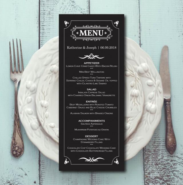 Retro Wedding Menu, Black White Menu Card Template, Dinner Menu, Elegant  Ceremony, Editable PDF, Printable, Digital, Instant Download E03B #2584898    ...  Dinner Card Template