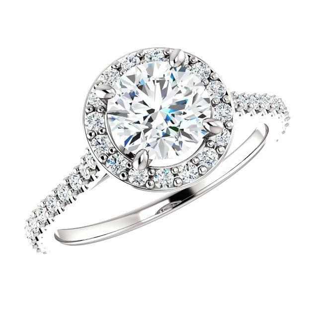 18k White Gold 1 00 Carat Round Diamond Halo Engagement