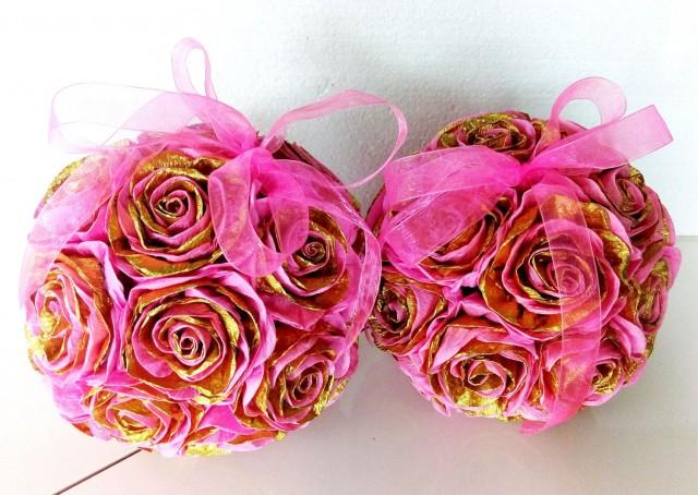 2 pink gold crepe paper flowers hanging kissing balls wedding 2 pink gold crepe paper flowers hanging kissing balls wedding bouquet baby shower flower girl pomander baptism birthday party centerpiece 2585341 mightylinksfo