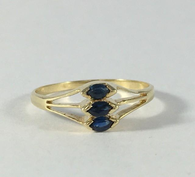 Vintage London Blue Topaz Ring 14k Yellow Gold Setting Unique