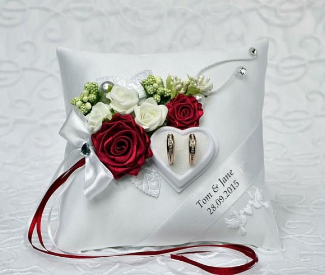 personalized wedding ring cushion pillow with rings holder box  2585847