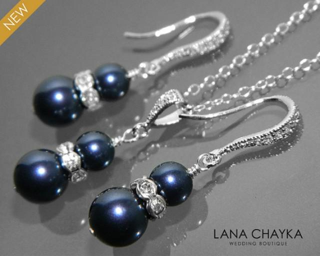 Navy Blue Pearl Earrings And Necklace Set Sterling Silver