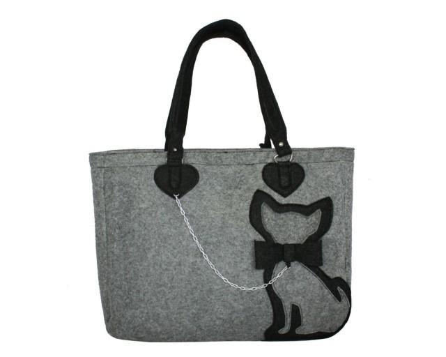 Cute cat bag grey elegant felted for woman