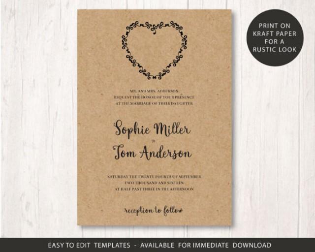Free Rustic Wedding Invitation Templates: Wedding Invite Template, Printable Wedding Invitation Set