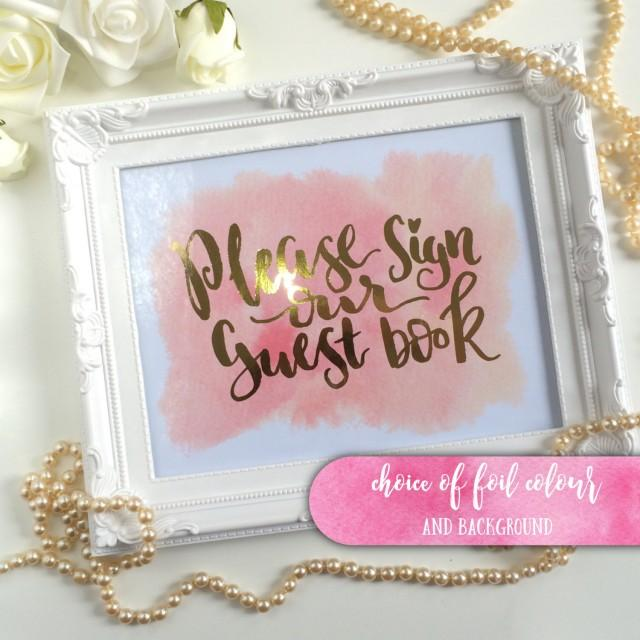 Foiled Wedding Guestbook Sign Gold Silver Rose Gold