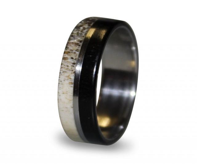 Titanium Ring Mens Titanium Wedding Band Deer Antler Antler