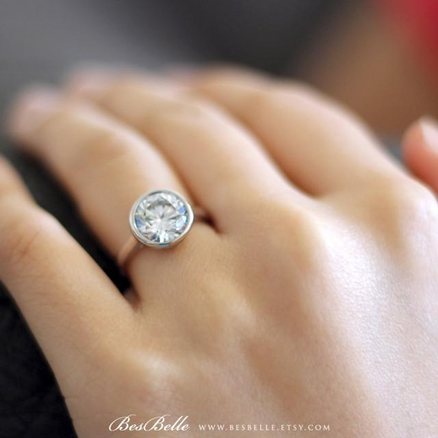 3 10 Ctw Solitaire Ring Bezel Setting Engagement Ring