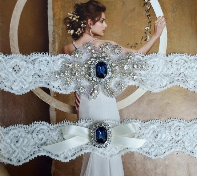 Vintage Lace Wedding Garter Set: Navy Blue Vintage Wedding Garter Set, Crystal Bridal