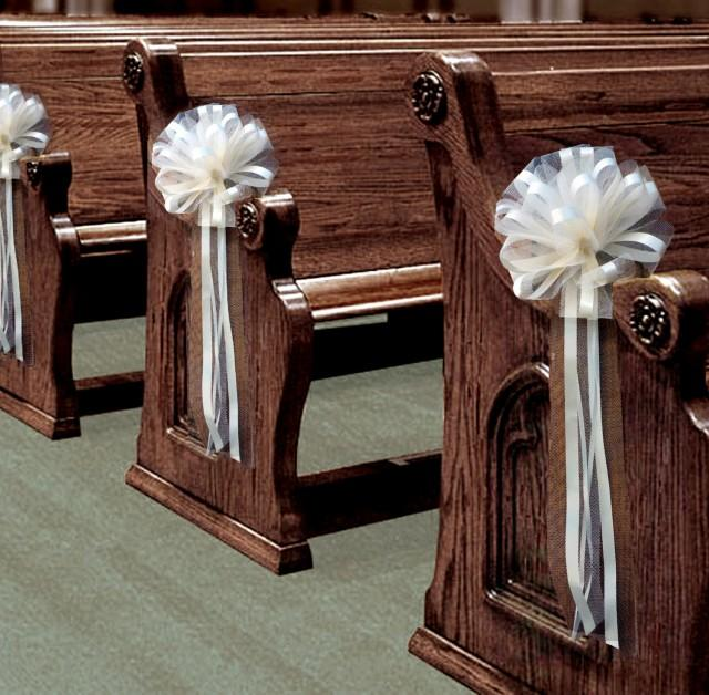 Wedding Pew Decoration Ideas: 6 Large Ivory Tulle Pull Bows Wedding Pew Decorations