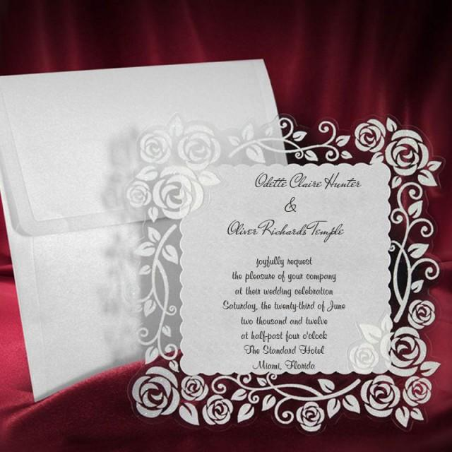 Lace Wedding Invitation Card Personalized Handmade Invite Rose Pattern Wonderful Elegant Party Birthday Cards Free Shipping 2587807