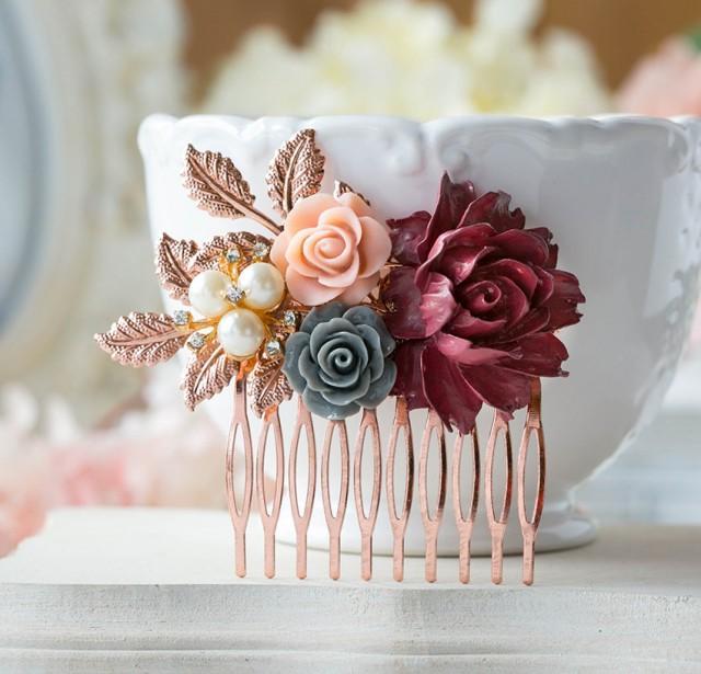 Rose Gold Bridal Hair Comb Maroon Burgundy Dark Red Wedding Hair