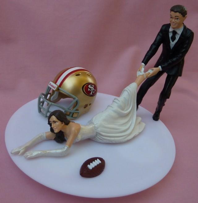 Wedding Cake Topper San Francisco 49ers SF G Football Themed W Garter Sporty Bride And Groom Fans Fun Humorous Unique Original Gift Idea