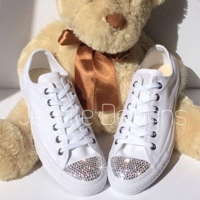 White Bedazzled Converse Wedding Shoes
