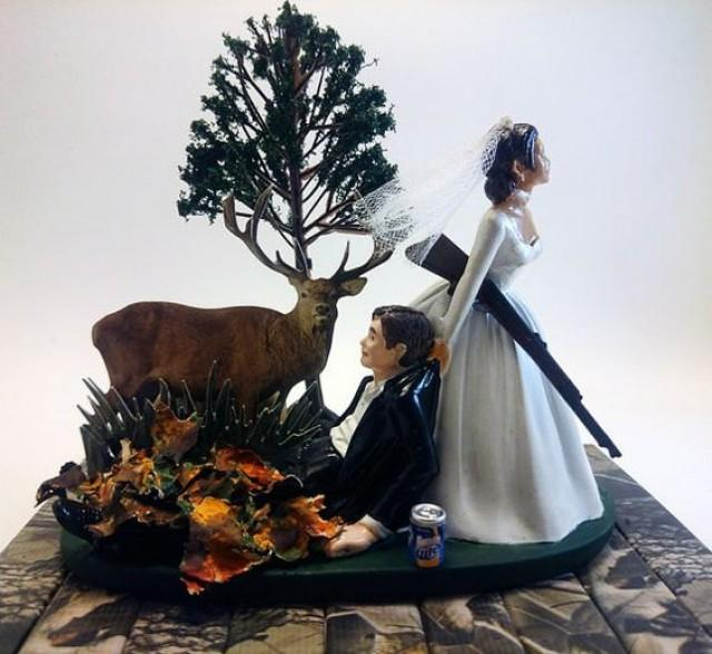 The Hunt Is Over Funny Hunting Wedding Cake Topper