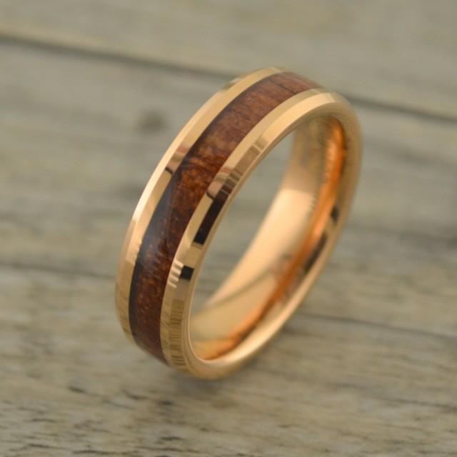 NEW Rose Gold With Hawaiian Koa Wood InlayMens Wedding Band