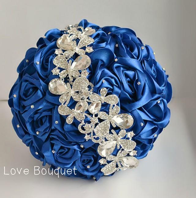 Royal Blue And Silver Wedding Flowers: Wedding Bouquet, Blue White And Silver Wedding Brooch