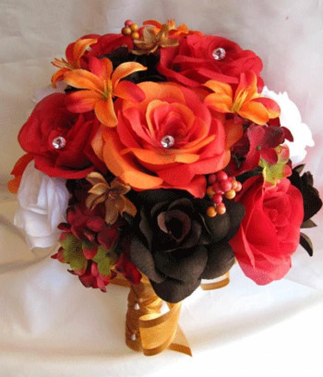 Silk Orange Fall Flowers: Wedding Bouquet Bridal Silk Flowers Lily ORANGE BROWN FALL