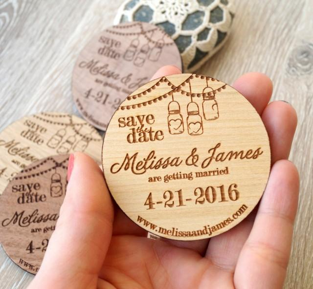 Wooden Save The Date Magnets Mason Jar Design Wood Save