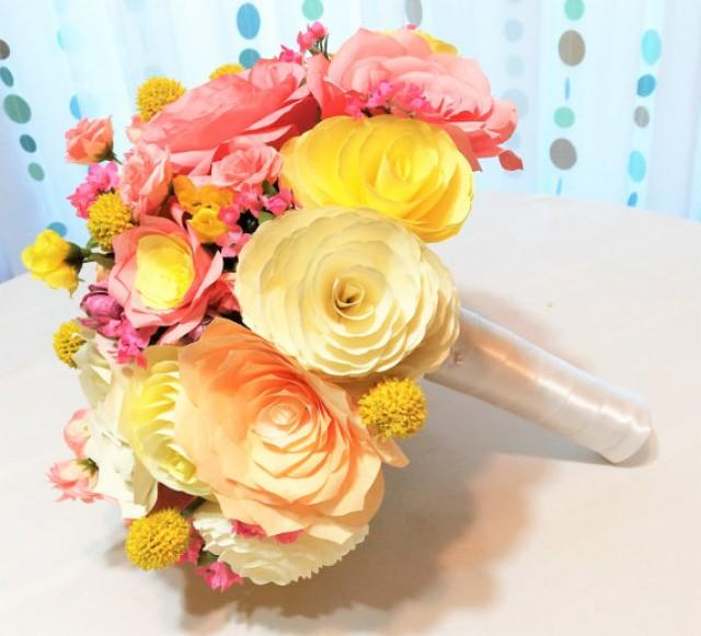 Paper Flower Bouquet, Coral And Peach Wedding Bouquets, Yellow ...