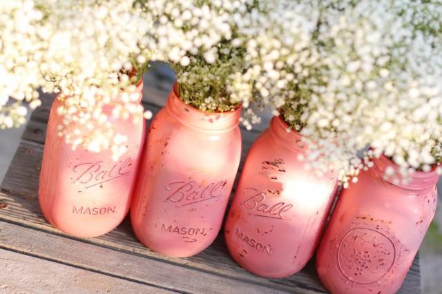 Distressed Mason Jars Shabby Chic Decor Painted Glass Vase