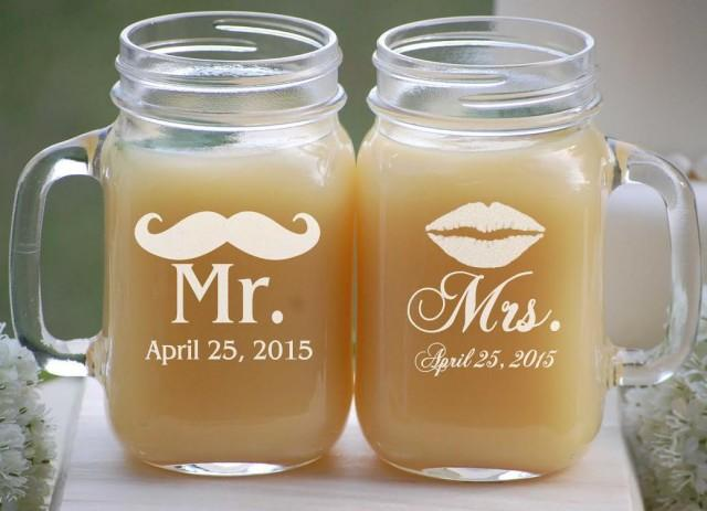 Mason Jar Wedding Favors Etched Mason Jars Wedding Mason Jar