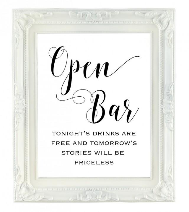 Open Bar Sign Printable Wedding Sign Tomorrows Stories Will Be - Free wedding sign templates