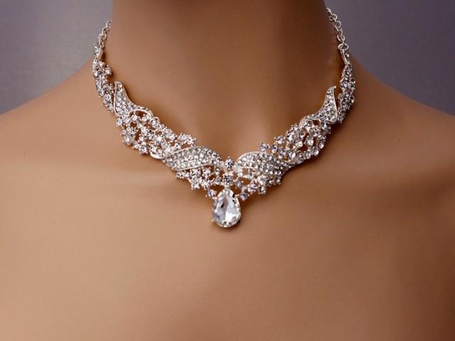 Wedding Drop Jewelry Set Sparkling Rhinestone V Neckline Necklace Earrings V Shape Jewelry Set Bridal Jewelry Set Dangle Earrings Sliver 2592559 Weddbook