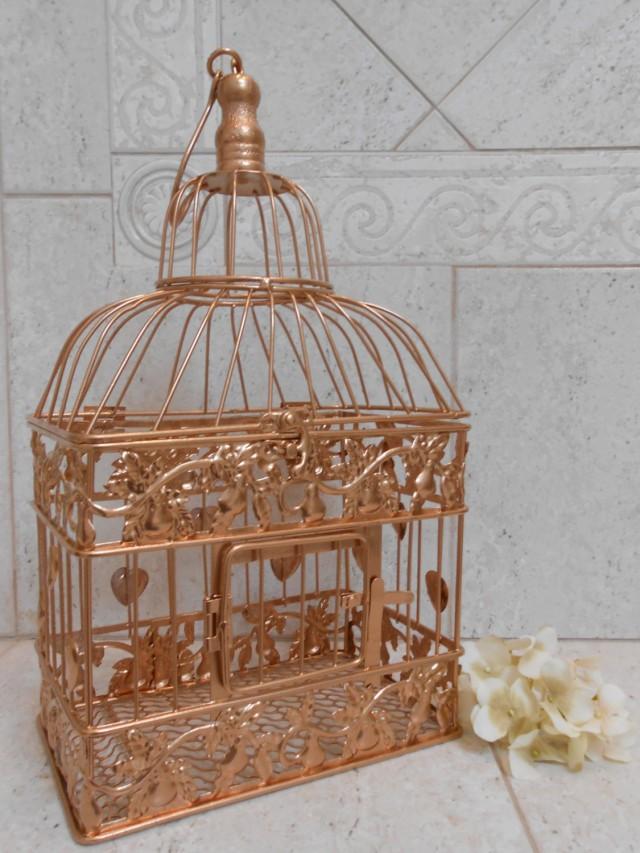 Small rose gold wedding birdcage card holder