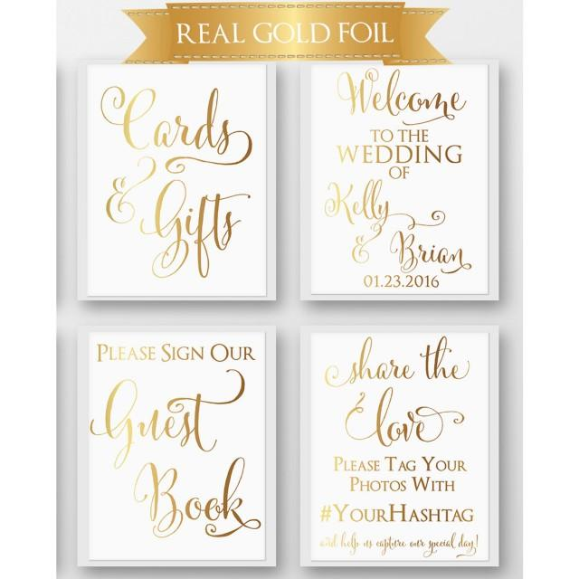 Gold Wedding Signs, Set Of 4, Real Gold Foil, Wedding