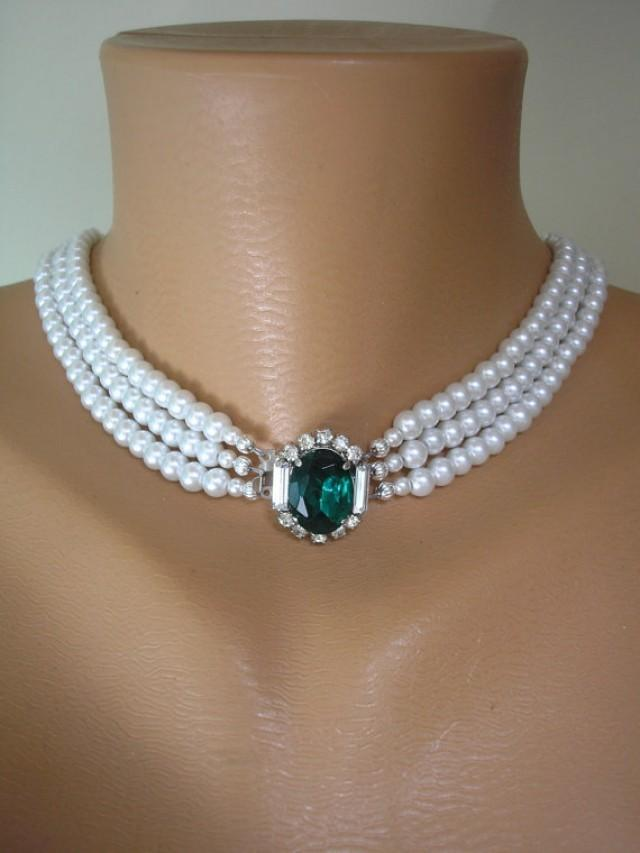 Emerald And Pearl Necklace Emerald Bridal Choker Great