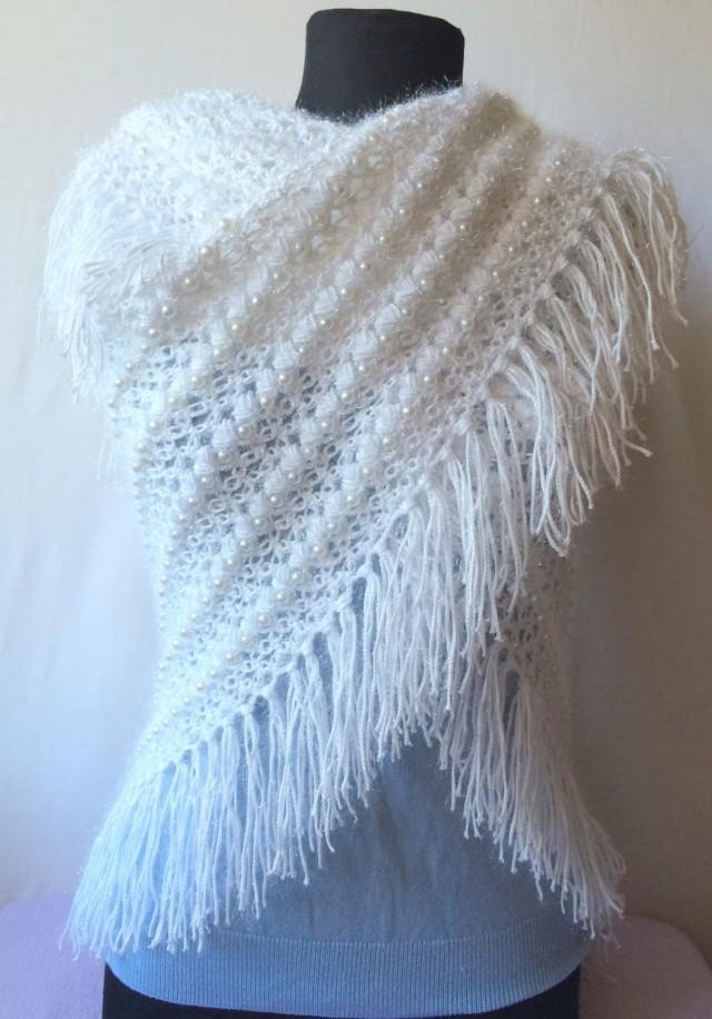 Crochet Wedding Shawl, Handmade Triangle Shawl, Lace ...