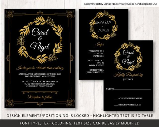 Gold And Black Wedding Invite Template